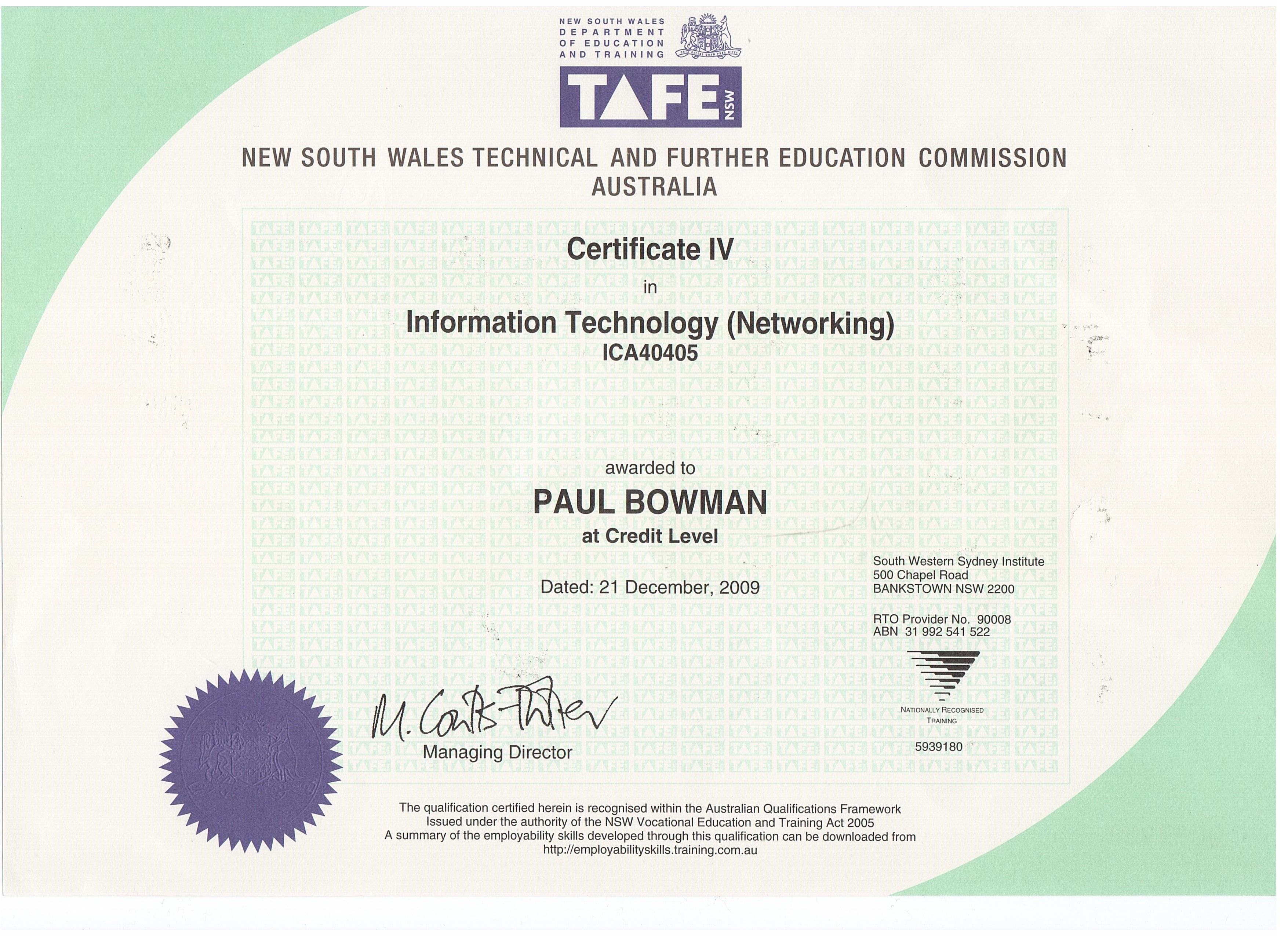 Paul's Website | certificates